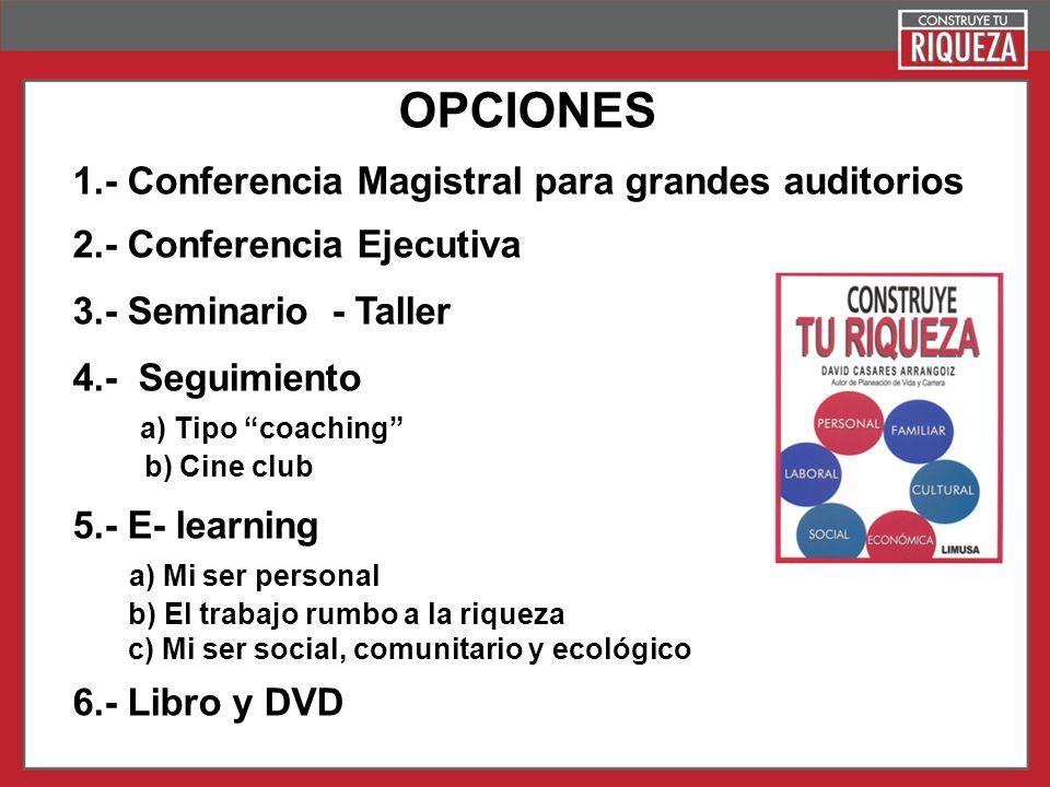 Page 23 OPCIONES 1.- Conferencia Magistral para grandes auditorios 2.- Conferencia Ejecutiva 3.- Seminario - Taller 4.- Seguimiento a) Tipo coaching b