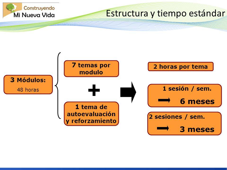 Estructura y tiempo estándar 3 Módulos: 48 horas 3 Módulos: 48 horas 1 sesión / sem. 6 meses 1 sesión / sem. 6 meses 1 tema de autoevaluación y reforz