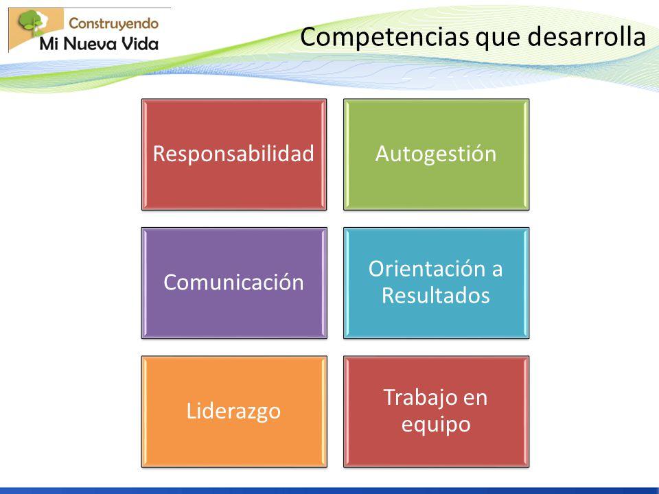 Competencias que desarrolla ResponsabilidadAutogestión Comunicación Orientación a Resultados Liderazgo Trabajo en equipo