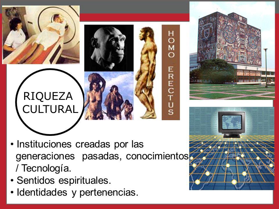 Page 9 RIQUEZA CULTURAL Instituciones creadas por las generaciones pasadas, conocimientos / Tecnología. Sentidos espirituales. Identidades y pertenenc