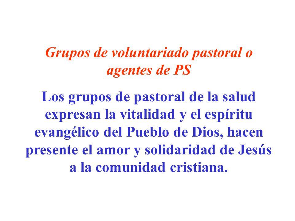 Grupos de voluntariado pastoral o agentes de PS Los grupos de pastoral de la salud expresan la vitalidad y el espíritu evangélico del Pueblo de Dios,