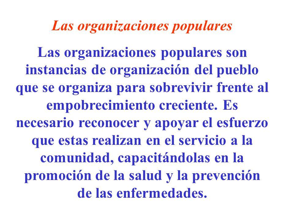 Las organizaciones populares Las organizaciones populares son instancias de organización del pueblo que se organiza para sobrevivir frente al empobrec
