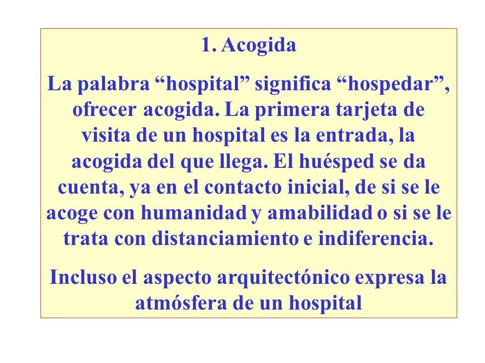 1.Acogida La palabra hospital significa hospedar, ofrecer acogida.