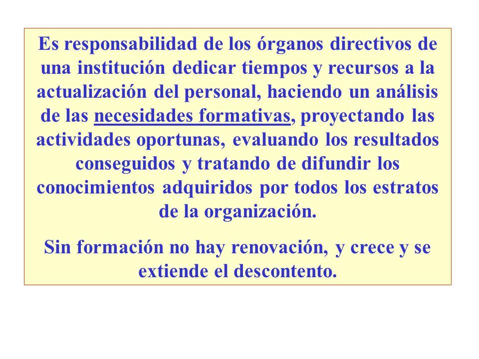 Es responsabilidad de los órganos directivos de una institución dedicar tiempos y recursos a la actualización del personal, haciendo un análisis de la