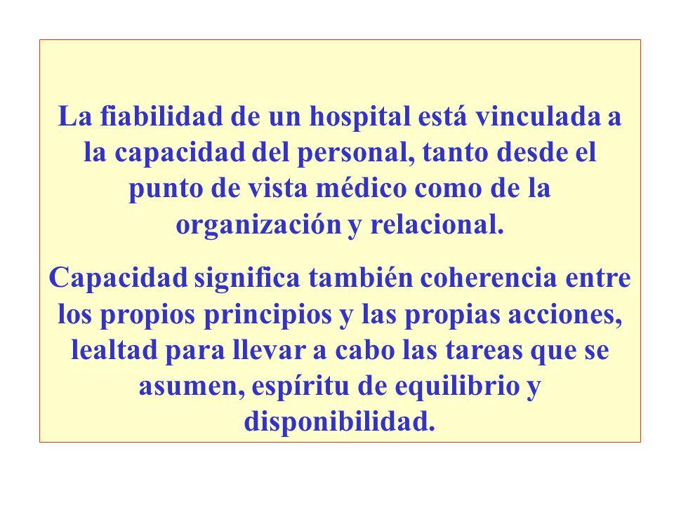 La fiabilidad de un hospital está vinculada a la capacidad del personal, tanto desde el punto de vista médico como de la organización y relacional. Ca