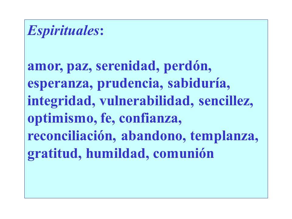 Espirituales: amor, paz, serenidad, perdón, esperanza, prudencia, sabiduría, integridad, vulnerabilidad, sencillez, optimismo, fe, confianza, reconciliación, abandono, templanza, gratitud, humildad, comunión