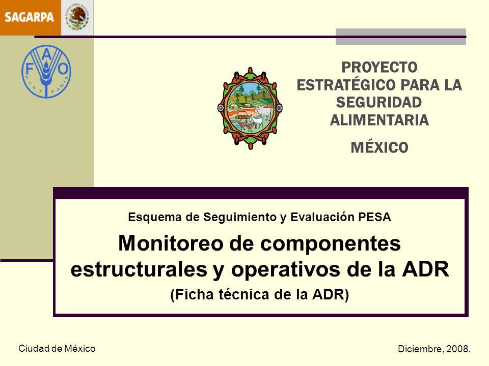 Esquema de Seguimiento y Evaluación PESA Monitoreo de componentes estructurales y operativos de la ADR (Ficha técnica de la ADR) Ciudad de México Dici