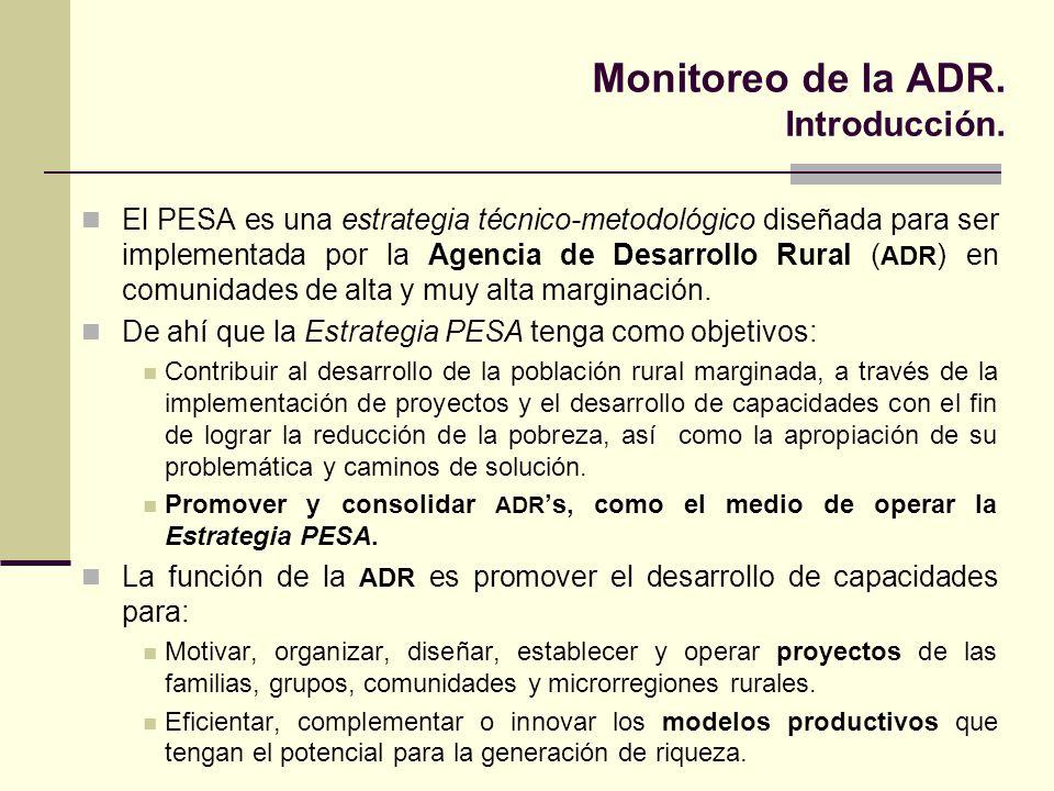 Monitoreo de la ADR. Introducción. El PESA es una estrategia técnico-metodológico diseñada para ser implementada por la Agencia de Desarrollo Rural (