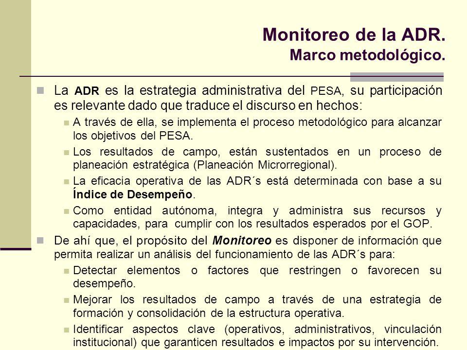 Monitoreo de la ADR. Marco metodológico. La ADR es la estrategia administrativa del PESA, su participación es relevante dado que traduce el discurso e
