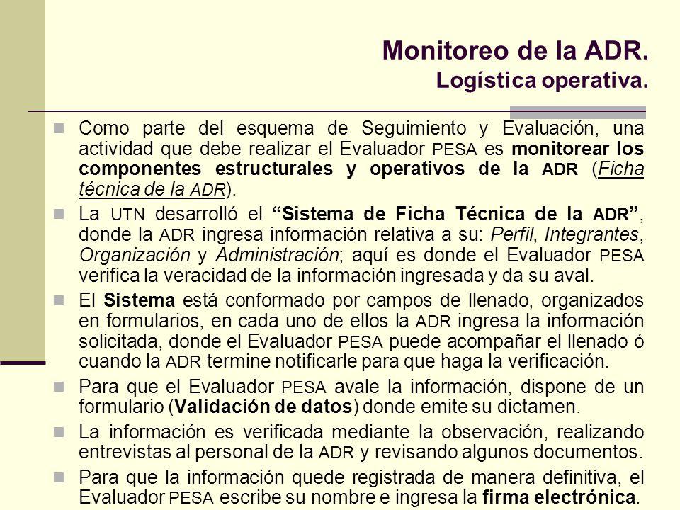 Monitoreo de la ADR. Logística operativa. Como parte del esquema de Seguimiento y Evaluación, una actividad que debe realizar el Evaluador PESA es mon