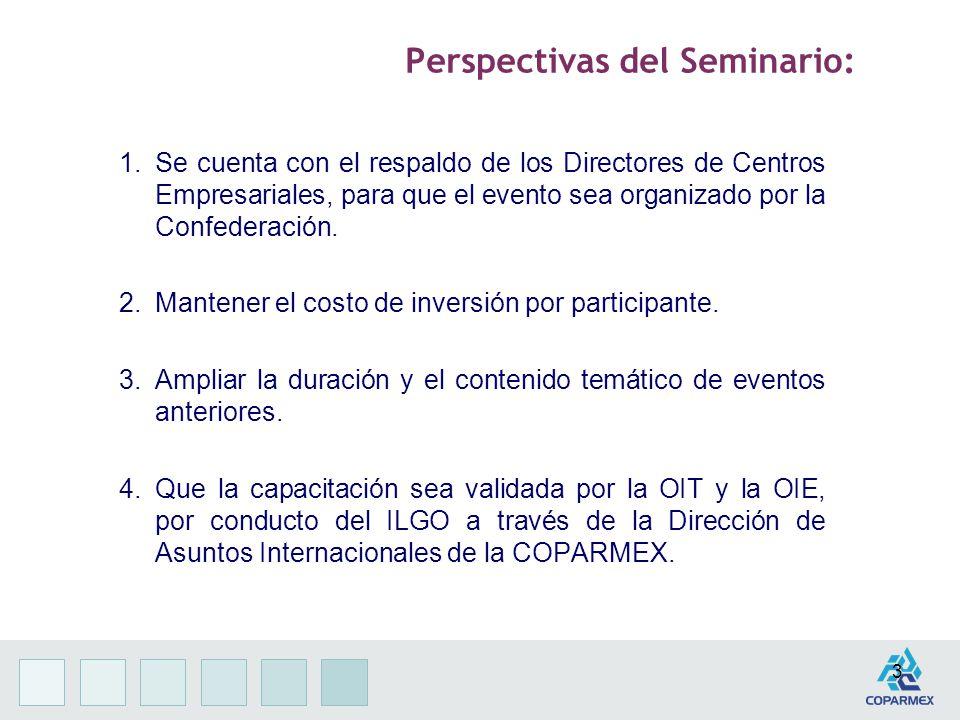 3 Perspectivas del Seminario: 1.Se cuenta con el respaldo de los Directores de Centros Empresariales, para que el evento sea organizado por la Confederación.