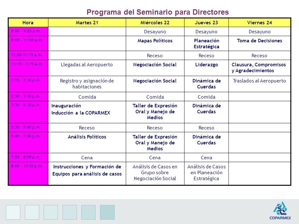 5 HoraMartes 21Miércoles 22Jueves 23Viernes 24 8:00 – 9:00 a.m.