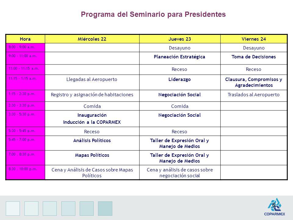 6 Programa del Seminario para Presidentes HoraMiércoles 22Jueves 23Viernes 24 8:00 – 9:00 a.m.