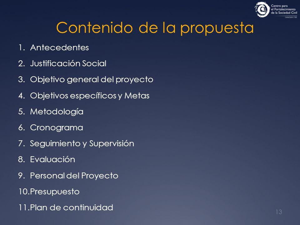 13 Contenido de la propuesta 1.Antecedentes 2.Justificación Social 3.Objetivo general del proyecto 4.Objetivos específicos y Metas 5.Metodología 6.Cro