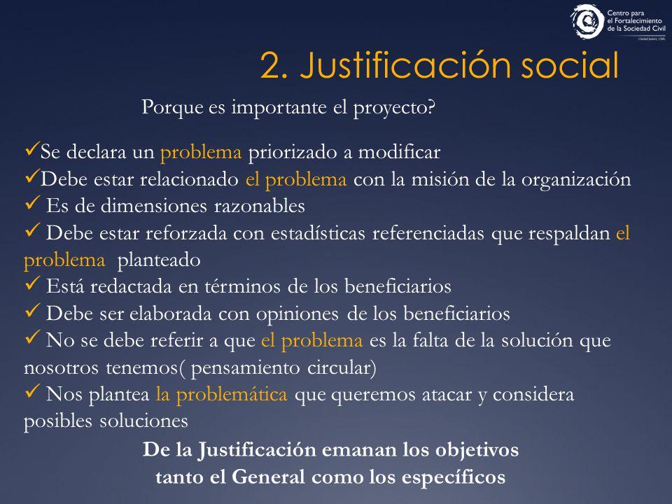 2. Justificación social Porque es importante el proyecto? Se declara un problema priorizado a modificar Debe estar relacionado el problema con la misi