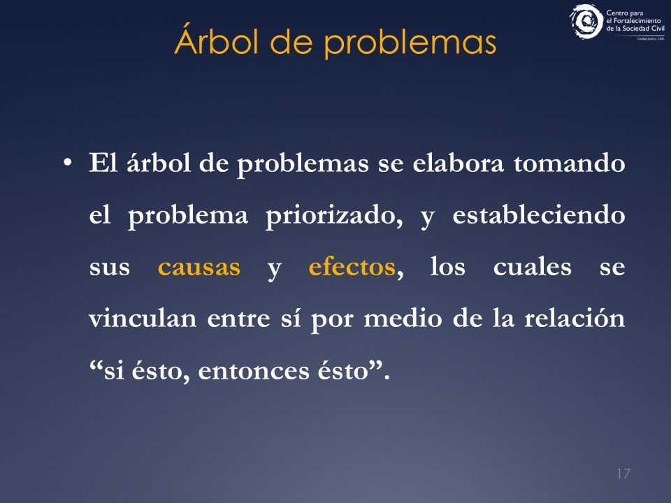17 El árbol de problemas se elabora tomando el problema priorizado, y estableciendo sus causas y efectos, los cuales se vinculan entre sí por medio de