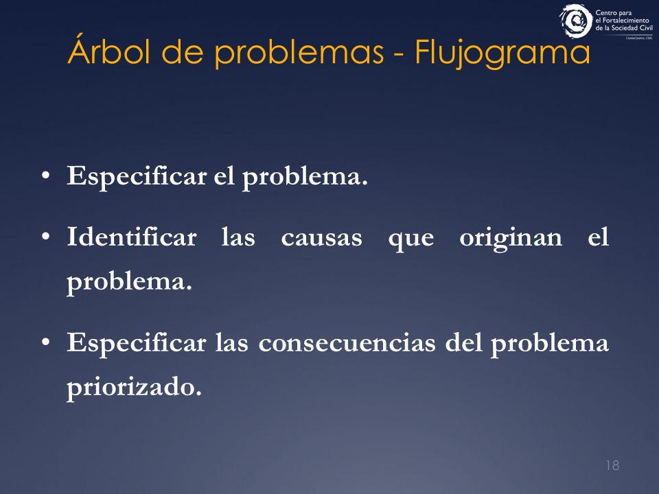 18 Árbol de problemas - Flujograma Especificar el problema. Identificar las causas que originan el problema. Especificar las consecuencias del problem