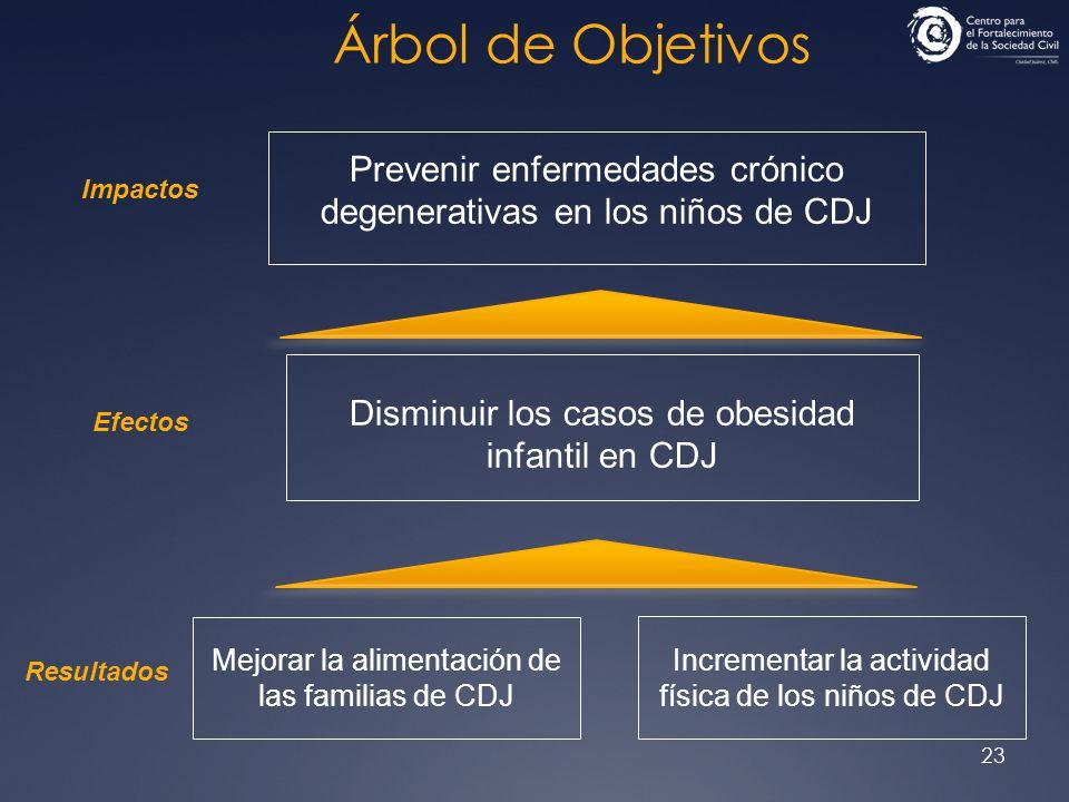 23 Árbol de Objetivos Prevenir enfermedades crónico degenerativas en los niños de CDJ Disminuir los casos de obesidad infantil en CDJ Mejorar la alime