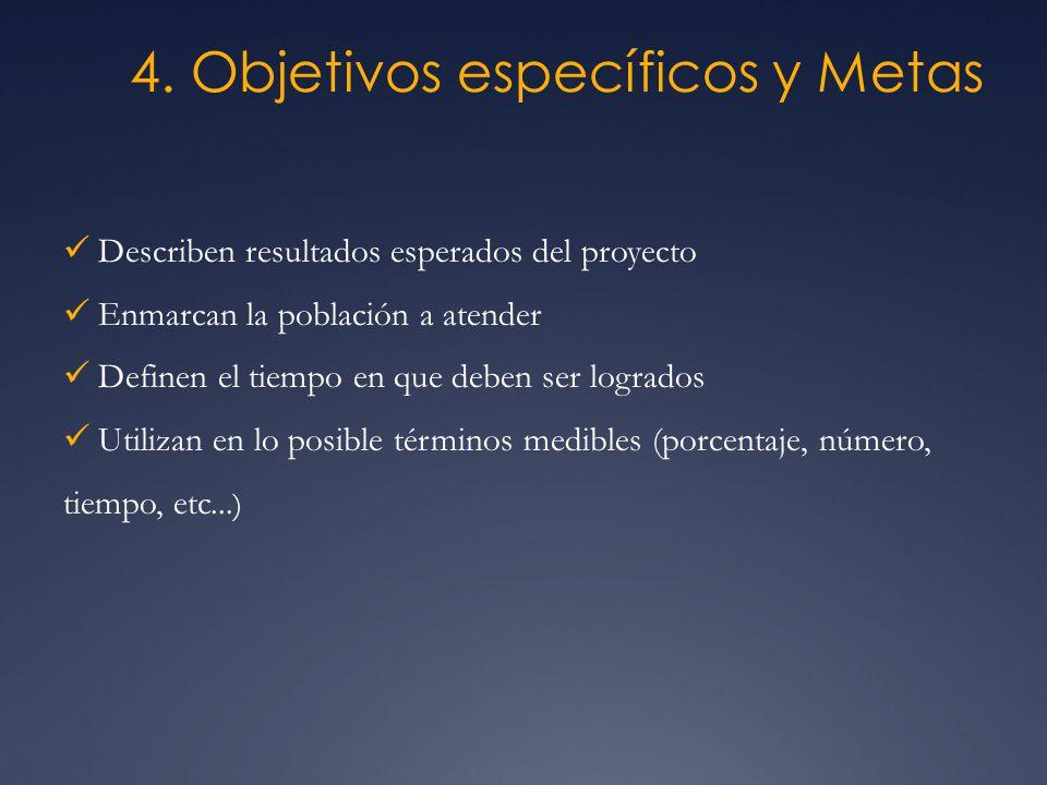 4. Objetivos específicos y Metas Describen resultados esperados del proyecto Enmarcan la población a atender Definen el tiempo en que deben ser lograd