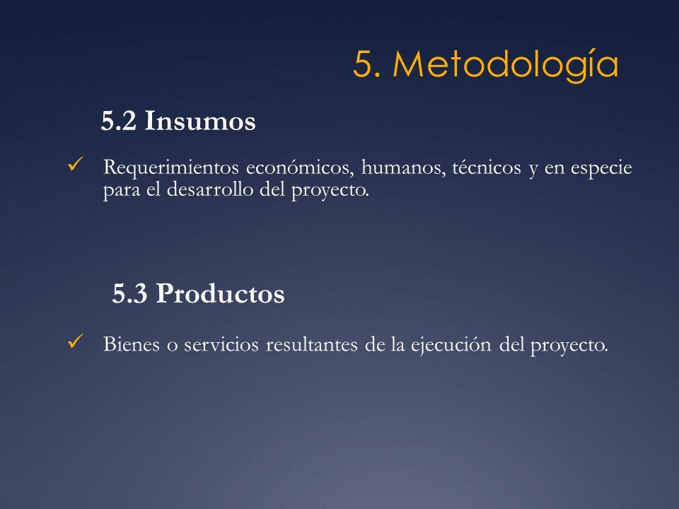 5. Metodología Requerimientos económicos, humanos, técnicos y en especie para el desarrollo del proyecto. 5.2 Insumos 5.3 Productos Bienes o servicios