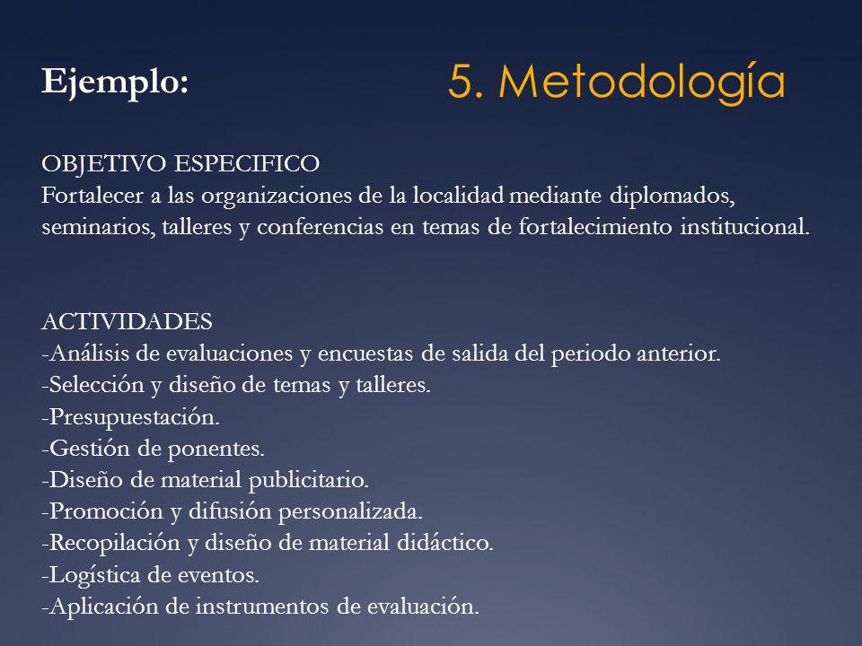 5. Metodología Ejemplo: OBJETIVO ESPECIFICO Fortalecer a las organizaciones de la localidad mediante diplomados, seminarios, talleres y conferencias e