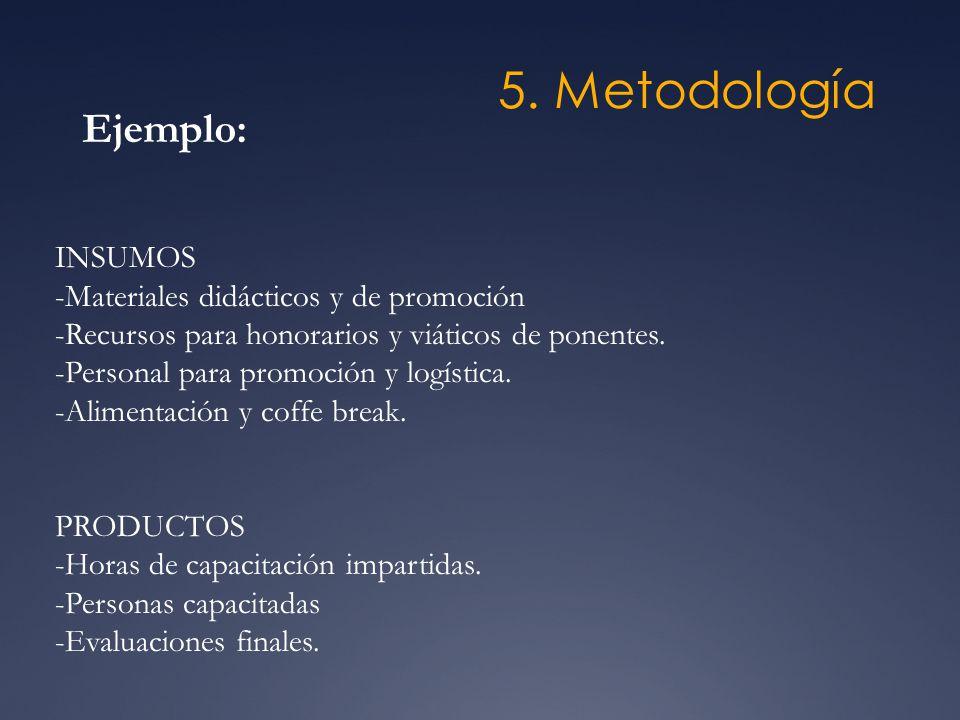 5. Metodología Ejemplo: INSUMOS -Materiales didácticos y de promoción -Recursos para honorarios y viáticos de ponentes. -Personal para promoción y log