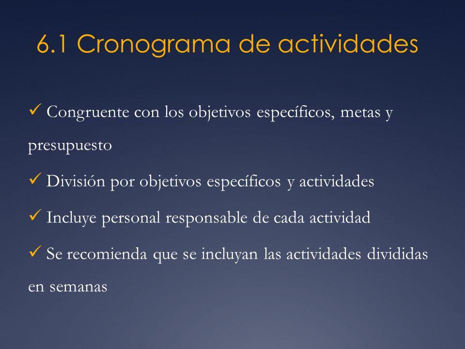 6.1 Cronograma de actividades Congruente con los objetivos específicos, metas y presupuesto División por objetivos específicos y actividades Incluye p