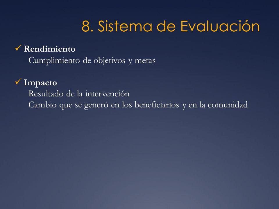 8. Sistema de Evaluación Rendimiento Cumplimiento de objetivos y metas Impacto Resultado de la intervención Cambio que se generó en los beneficiarios