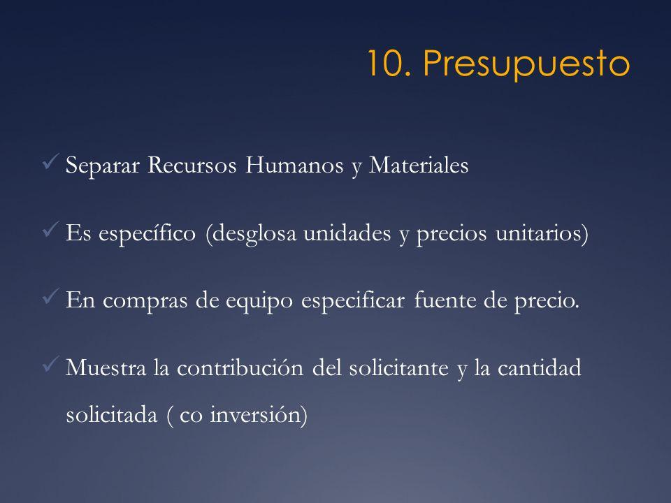 10. Presupuesto Separar Recursos Humanos y Materiales Es específico (desglosa unidades y precios unitarios) En compras de equipo especificar fuente de