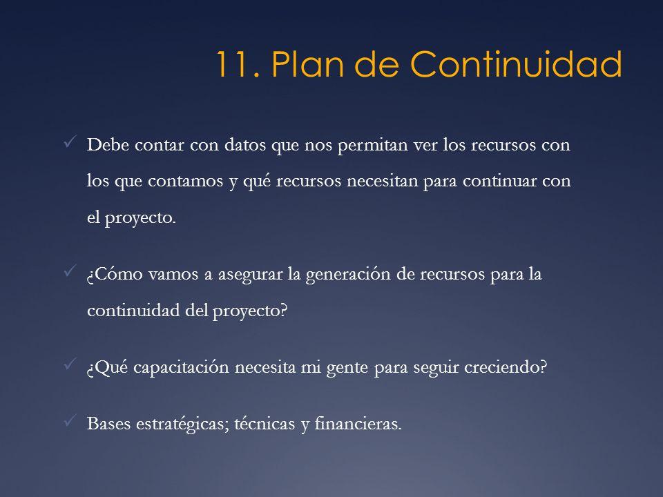 11. Plan de Continuidad Debe contar con datos que nos permitan ver los recursos con los que contamos y qué recursos necesitan para continuar con el pr