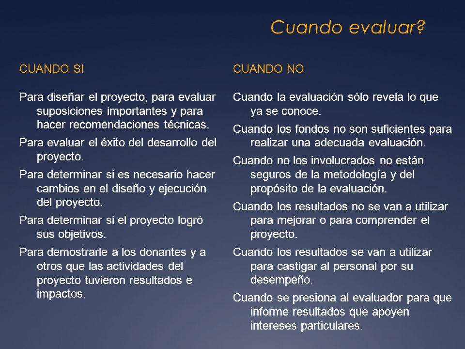 Cuando evaluar? CUANDO SI Para diseñar el proyecto, para evaluar suposiciones importantes y para hacer recomendaciones técnicas. Para evaluar el éxito