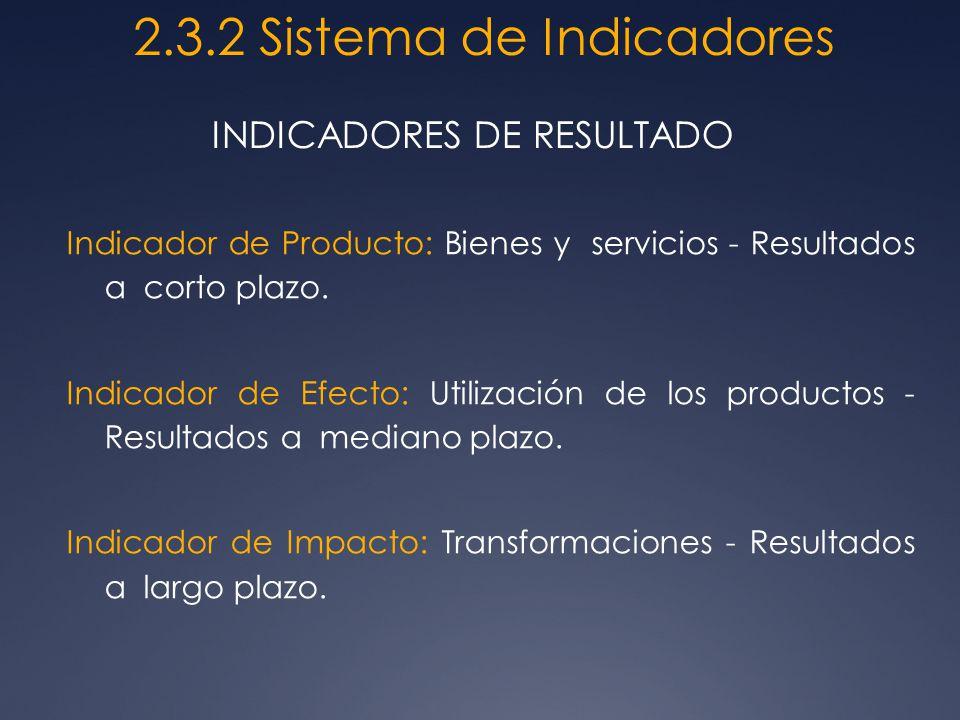Indicador de Producto: Bienes y servicios - Resultados a corto plazo. Indicador de Efecto: Utilización de los productos - Resultados a mediano plazo.