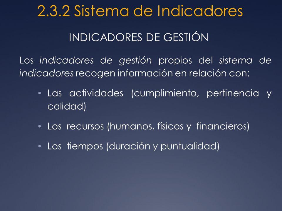 Los indicadores de gestión propios del sistema de indicadores recogen información en relación con: Las actividades (cumplimiento, pertinencia y calida