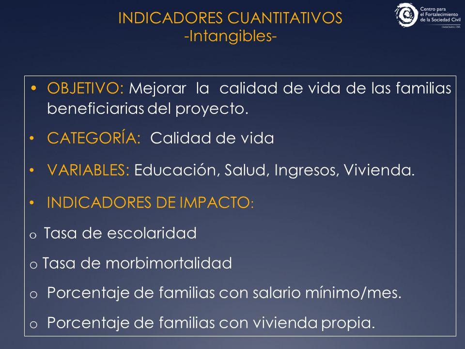 INDICADORES CUANTITATIVOS -Intangibles- OBJETIVO: Mejorar la calidad de vida de las familias beneficiarias del proyecto. CATEGORÍA: Calidad de vida VA