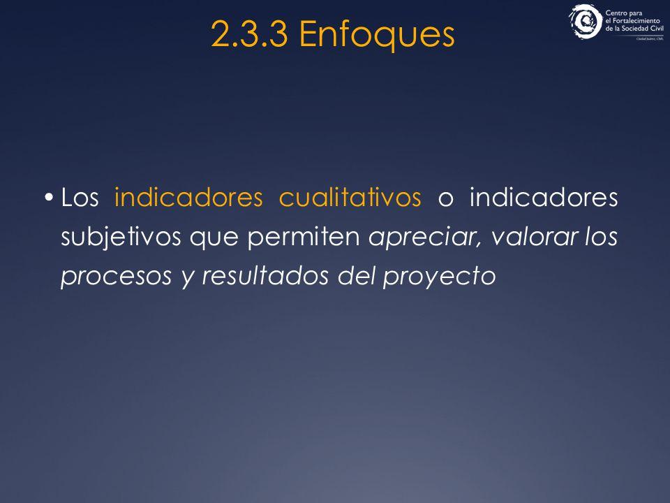 2.3.3 Enfoques Los indicadores cualitativos o indicadores subjetivos que permiten apreciar, valorar los procesos y resultados del proyecto