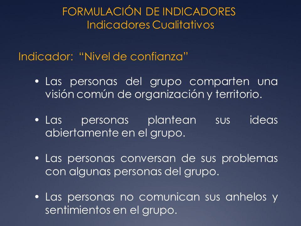 FORMULACIÓN DE INDICADORES Indicadores Cualitativos Indicador: Nivel de confianza Las personas del grupo comparten una visión común de organización y