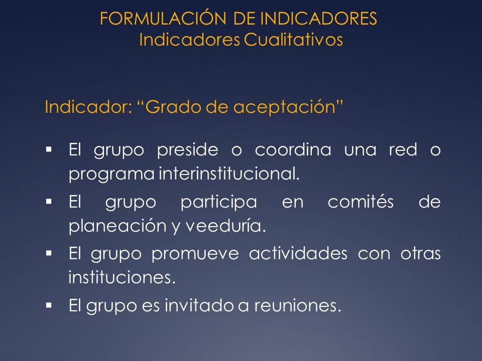 FORMULACIÓN DE INDICADORES Indicadores Cualitativos Indicador: Grado de aceptación El grupo preside o coordina una red o programa interinstitucional.