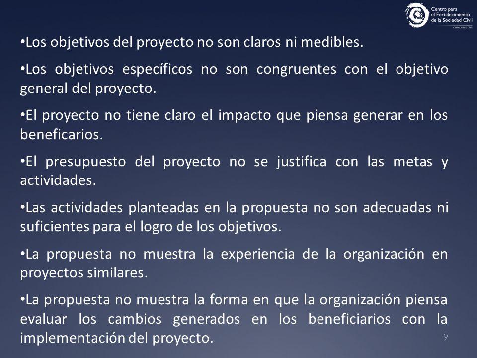 9 Los objetivos del proyecto no son claros ni medibles. Los objetivos específicos no son congruentes con el objetivo general del proyecto. El proyecto