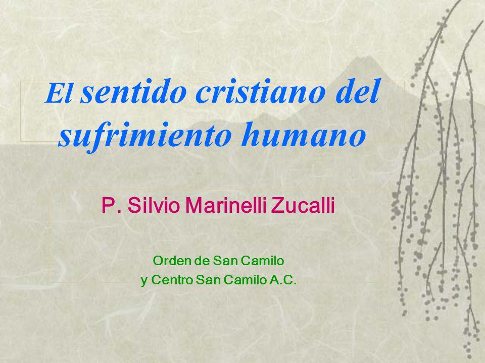 El sentido cristiano del sufrimiento humano P. Silvio Marinelli Zucalli Orden de San Camilo y Centro San Camilo A.C.