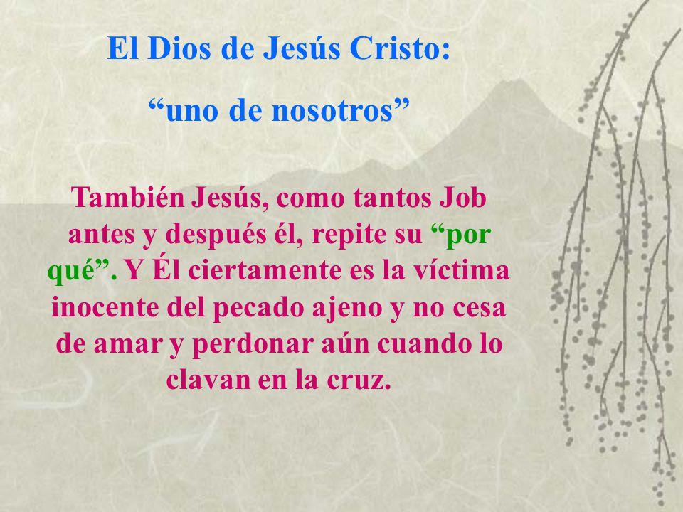 El Dios de Jesús Cristo: uno de nosotros También Jesús, como tantos Job antes y después él, repite su por qué. Y Él ciertamente es la víctima inocente