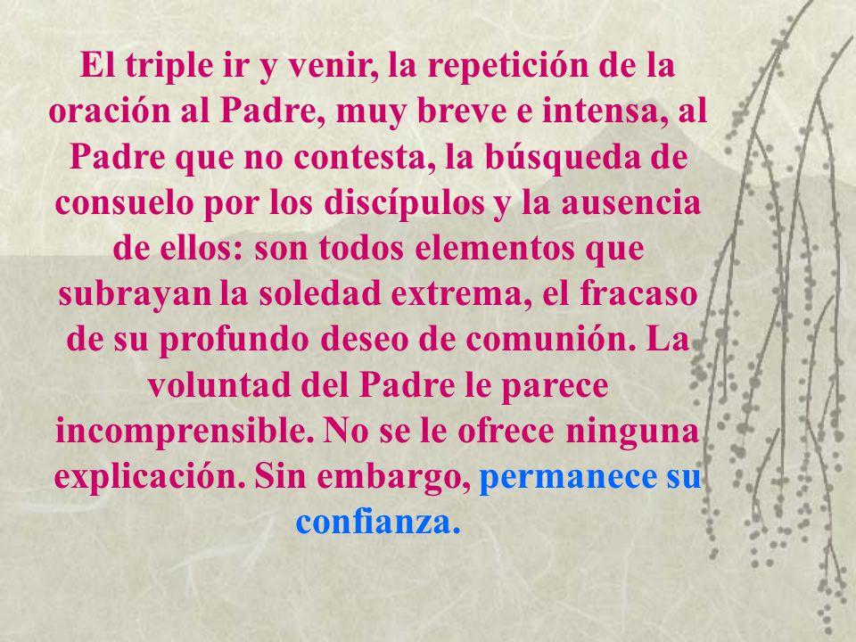 El triple ir y venir, la repetición de la oración al Padre, muy breve e intensa, al Padre que no contesta, la búsqueda de consuelo por los discípulos