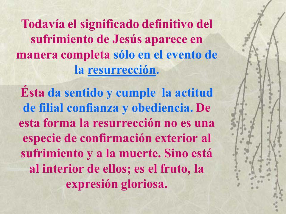Todavía el significado definitivo del sufrimiento de Jesús aparece en manera completa sólo en el evento de la resurrección. Ésta da sentido y cumple l