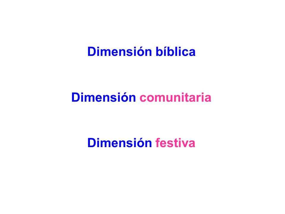 Dimensión bíblica Dimensión comunitaria Dimensión festiva