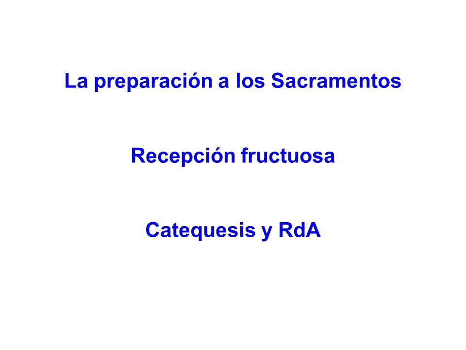 La preparación a los Sacramentos Recepción fructuosa Catequesis y RdA