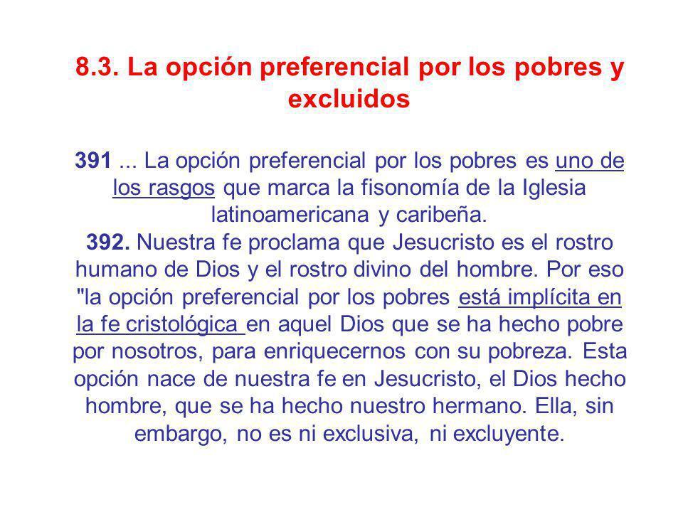 8.3. La opción preferencial por los pobres y excluidos 391... La opción preferencial por los pobres es uno de los rasgos que marca la fisonomía de la