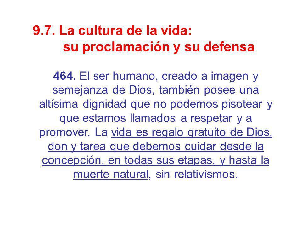 9.7. La cultura de la vida: su proclamación y su defensa 464. El ser humano, creado a imagen y semejanza de Dios, también posee una altísima dignidad