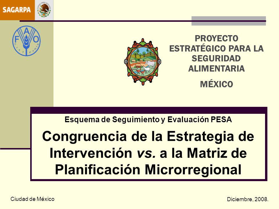 Esquema de Seguimiento y Evaluación PESA Congruencia de la Estrategia de Intervención vs. a la Matriz de Planificación Microrregional Ciudad de México