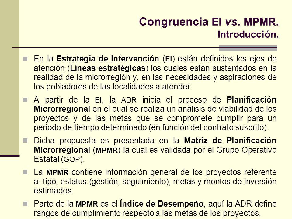 Congruencia EI vs. MPMR. Introducción. En la Estrategia de Intervención ( EI ) están definidos los ejes de atención (Líneas estratégicas) los cuales e