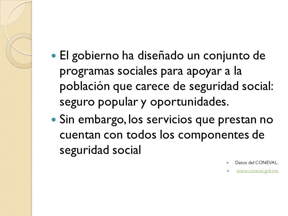 El gobierno ha diseñado un conjunto de programas sociales para apoyar a la población que carece de seguridad social: seguro popular y oportunidades. S