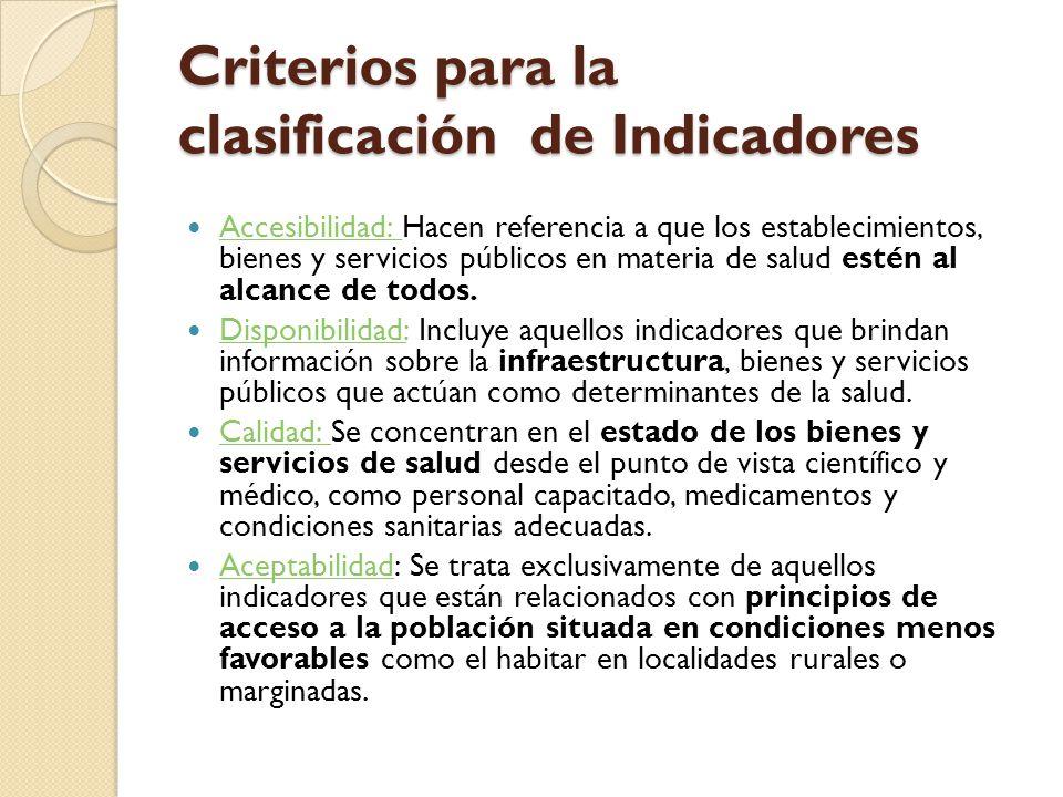 Criterios para la clasificación de Indicadores Accesibilidad: Hacen referencia a que los establecimientos, bienes y servicios públicos en materia de s